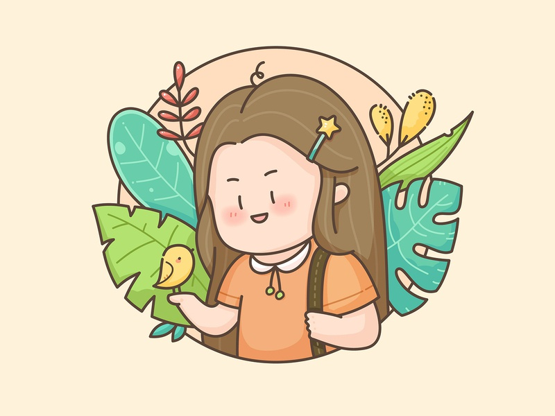 Girl with bird plant bird girls vector illustration