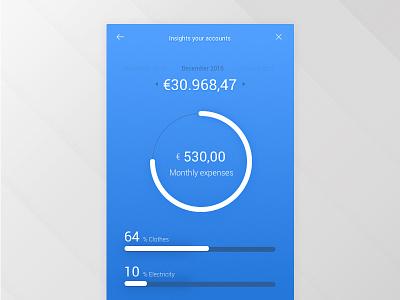 Bank Account app expenses revenue ux ui salary bank account