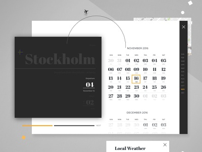 Airline Website Concept weather date calendar website booking typography concept flight airline airplane