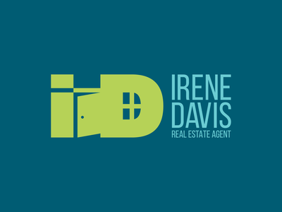 Irene Davis Real Estate Logo real estate branding real estate agency real estate illustration minimal type branding logo typography flat icon graphic  design graphic art badge vector illustrator design