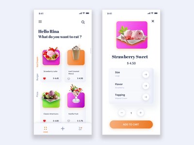 Ice Cream Shop App ios app design android app mobile app icecream app icecream app icecream design design inspiration creative  design ux web webdesign creative app uidesign ui app ui