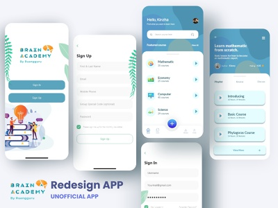 E-Course by Brain Academy Unofficial App ios android mobile app branding illustration design app webdesign design inspiration ui creative app uidesign ui app