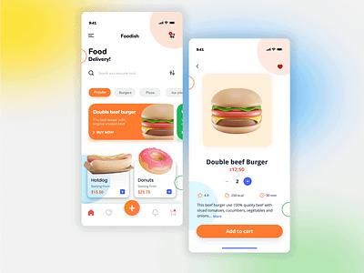 Foodish Food Delivery ui app illustration app dailyui mobileapp ux uiux uidesign