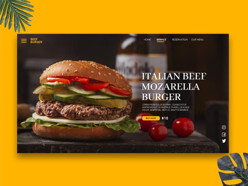 Minimalist Burger Landing Page app design ux web creative  design webdesign ui ui app uidesign creative app design inspiration