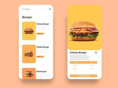 Minimalist burger menu & order page