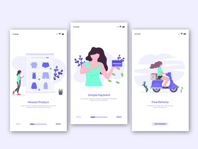 Flat Illustration Welcome Page Mobile App