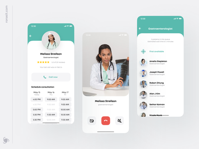 Remote Healthcare App Design ux mobile ui support react native mvp physiotherapy consultation online patient provider mobile product healthcare healthy call schedule video design