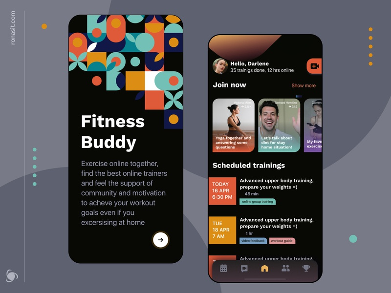Fitness App Design Concept ui ux tutorials streaming trainings personal coach sport ronas it online mvp mobile daily planner schedule video calendar fitness app activity
