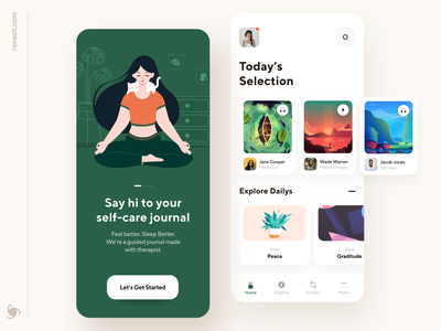 Self-Care Mobile App onboarding help mental health physiotherapy provider ronasit patient medicine doctor ux ui selection meditation therapy health healthcare startup mvp mobile