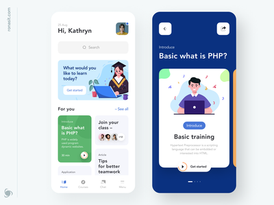 Educational App Design ux minimal education class chat interface native mvp online product mobile ronas it learning html design css courses classes app
