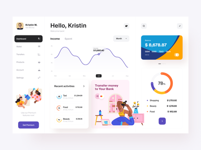 Finance Dashboard Concept tech business startup service product online banking money investment funding finance digital capital bank card balance income transfers wallet banking dashboard business banking activity