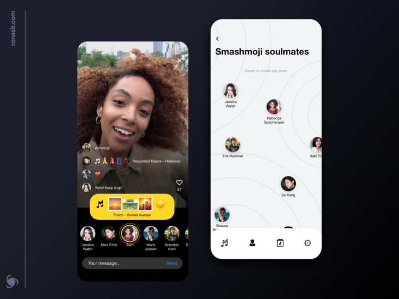 Music Messenger App Design Concept online chat app mobile figma streaming concept instagram friends minimal song playlist shazam emoji chat app messenger meeting video stories music app