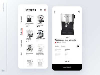 Mobile Shopping App Design Concept ux shopping ui share favorite rate coffe makers coffee shop icons app design ronas it design category cart shopping app shop e-commerce ecommerce buy app