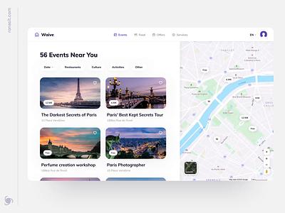 Travel App Web Design Concept guide startup mvp ui ux ronas it trip planner trip events airbnb travelling travel app travel web design website web app design app