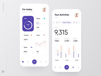 Health Tracker App Design Concept ux ui calendar ui dashboard ui heartbeat water calories medical app mobile ui mobile app design mobile app medicine medical health tracker activities healthcare health app health app design app