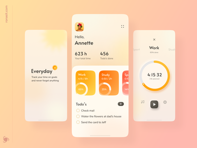 Activity Tracker Mobile App ronas it web design neumorphic design neumorphism neumorph ui  ux activity activity tracker mobile app design mobile app mobile minimal illustration creative branding design branding animation 2d