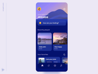 Calm App UI Animation animation mvp mobile ui ux meditate lifestyle ios relaxing yoga meditation app meditations meditation app design app health chilling case cards calm