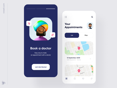 Appointment Scheduling  Mobile App Design Concept schedule app schedule map doctor app doctor appointment doctors appointment booking appointment health app health mobile app mvp ronas it ui ux app design app
