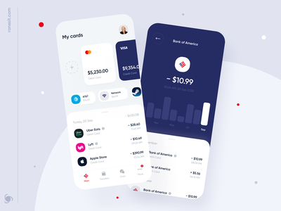 Bank of America | Online Banking Mobile App Concept ronas it mvp ui ux mobile ui redesign bank of america mobile app design mobile app fintech app fintech finances finance app finance bank card bank app banking bank app design app