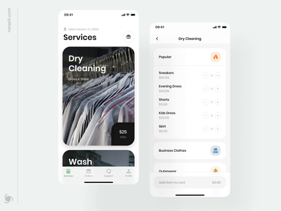 Laundry And Dry Cleaning Delivery App ronas it mvp delivery cart flow laundry service laundry interaction animation ux design ui design housing services cleaning service clean mobile app app design app