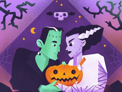 Halloween Love Story Illustration ronas it branding graphic design pumpkin frankenstein bride of frankenstein graphic flat vector spooky illustration art halloween design halloween party character art artwork illustration story love