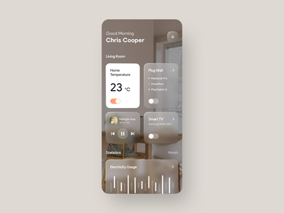 Smart Home Manager App smartapp home automation mvp ronas it ui ux mobile app application design clean ui devices smarthome smart switch thermostat home consumption smart home app smart home design glassmorphism