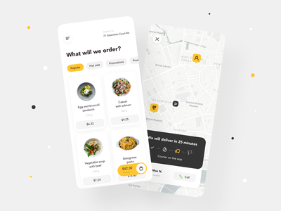 Food Delivery App Design dashboad cart status tracking map food delivery application food delivery app food delivery food app food mobile ui mobile app design mobile app design mobile app app mvp ronas it ui ux