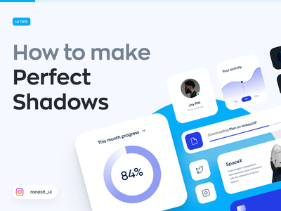 How to Make Perfect Shadows - UI Tips perfect shadow tips ronas it ux ui cards ui smooth shadow colorful guide branding identity figma freebie