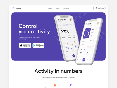 Activity Tracker App - Landing Page diary tracker activity fintess app design mobile app ios mvp presentation website design product product design landing page landingpage landing website ronas it web design ui ux