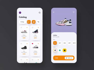 Sneakers Shopping App animation mobile app design mobile app mobile ui mobile design ui ux card apps shop sale ui kit design discount app online shop cart shopping cart marketplace product