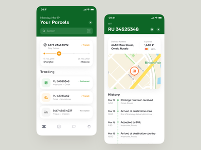 Parcel Tracking App Design tracking track package parcel delivery delivery service logistics ronas it app ios settings dashboard overview tracking package tracking parcel account postal postal service transport truck