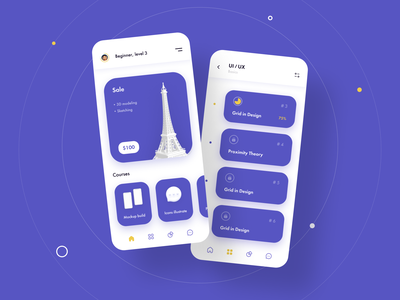 eLearning Mobile App mobile app mobile ronas it ui ux interface e-learning online courses education learning platform educational platform colorful gradient 3d concept edtech product design statistics classes cards
