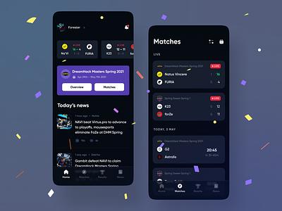 Esports app ios app twitch esport game lol csgo league legends tab bar cards results live stream bits esports dashboard dark purple black