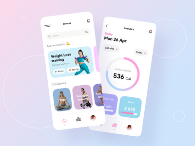 Fitness App ui app interface ux ios minimal illustration draft fitness workout gym yoga running weight coach personal trainer calendar cards stats activity