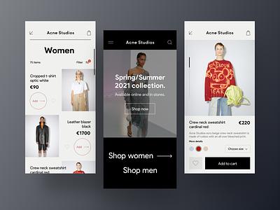 eCommerce App ui app interface ios minimal store product ecommerce fashion shop clothes clean gradients e commerce brand e-commerce colorful colors line list