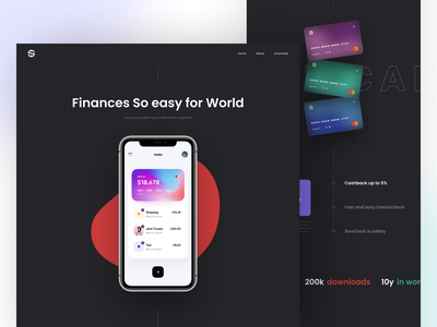Finance Landing Page Animation ux ui web page web design home page home page design product page product design website web fintech bank interface motion landing page interaction banking finance payment
