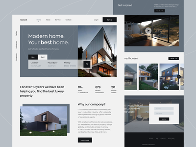 Real Estate Home Page app mvp ronas it ux ui minimal minimalist product design product real estate home rent website properties apartment property homepage web design house