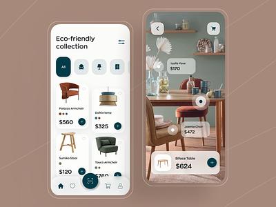 Furniture Shop App app design mobile ui ux minimal ios interior property 3d furniture ecommerce store shop furniture app product design minimalist clean table chair