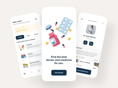 Medical App ios ux ui medical app doctor app clean mobile mobile app health healthcare doctor appointment hospital clinic minimal illustration