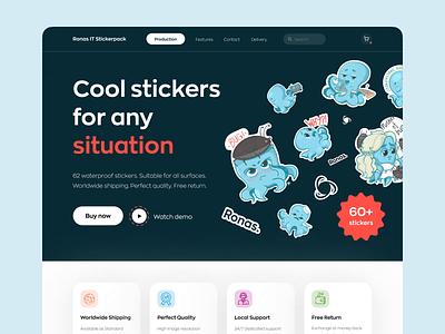 Stickers Landing Page web design website web page promopage promotion promo landing landing page graphic design animation illustration design mvp ronas it ux ui