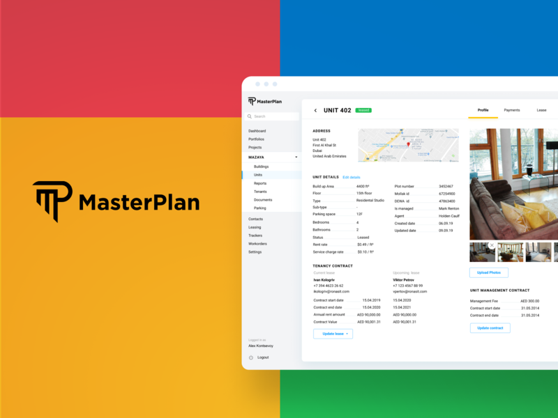 MasterPlan | Property management app reporting business analytics business process automation figma admin dashboard real estate proptech lease management property management desktop web design ui ux