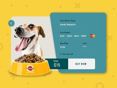 Credit Card Checkout Page - Daily UI #002 flat colours flat  design bright colours dog food pedigree visual design ui  ux design daily ui challenge checkout page