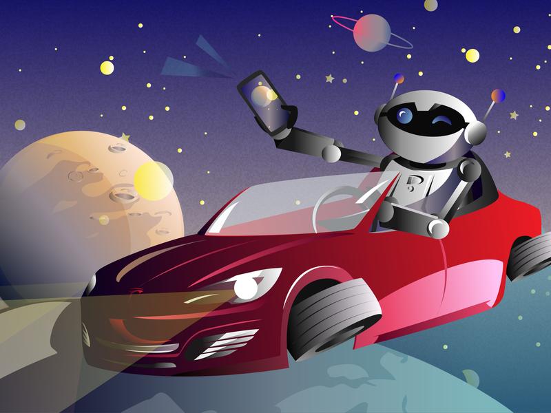 Robot tesla cosmos illustrated vector flat illustration commercial flat illustration