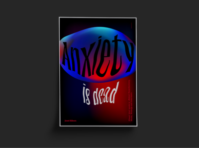 Poster Anxiety is dead red blue dead anxiety design quote neon typogaphy mesh gradient print poster