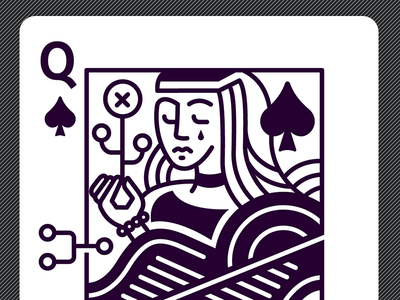 Queen of Spades error sad drop cry dark royal illustration poker playing spades queen cards