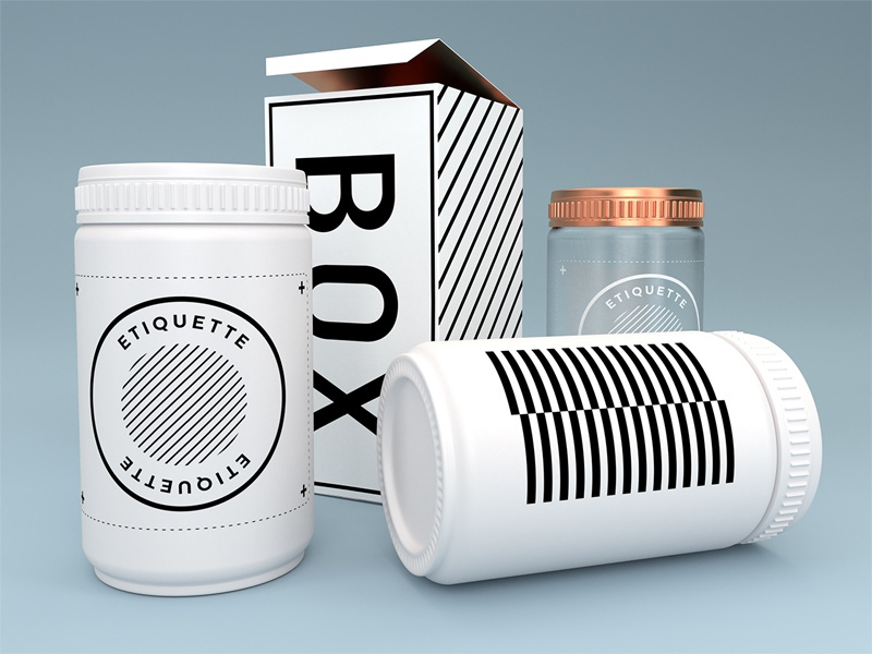 Package mockups tests blender white medicine box package 3d mockup