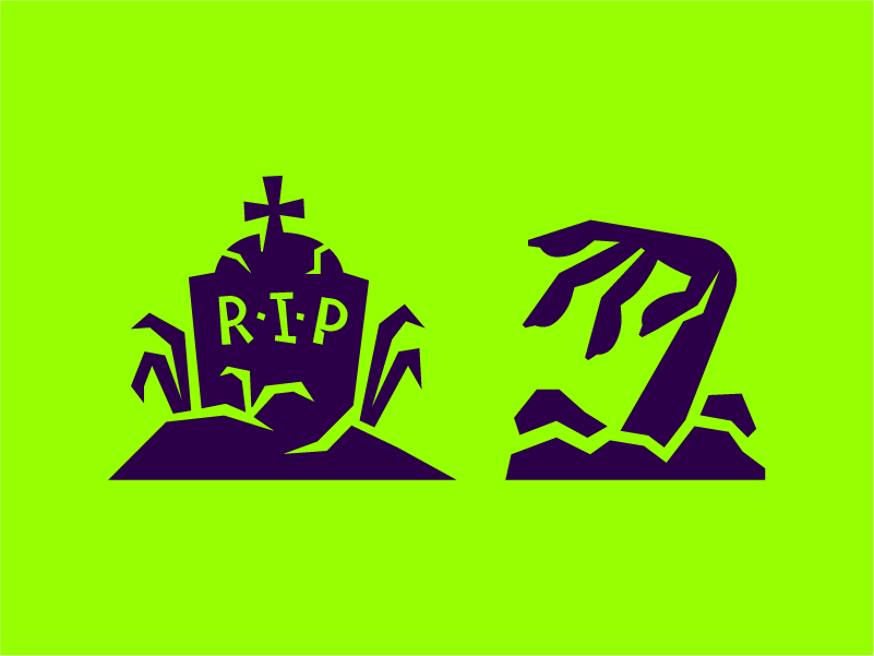 Halloween icons death rip cartoon swamp grass dirt soil silhouette icons cross purple violet green spooky creepy zombie grave halloween hand icon