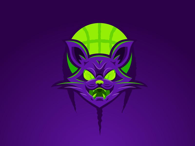 Halloween Cats - mascot logo cat drawing meow kitty mascot logo purple pussy animal basketball basket sport mascot logo cat icon