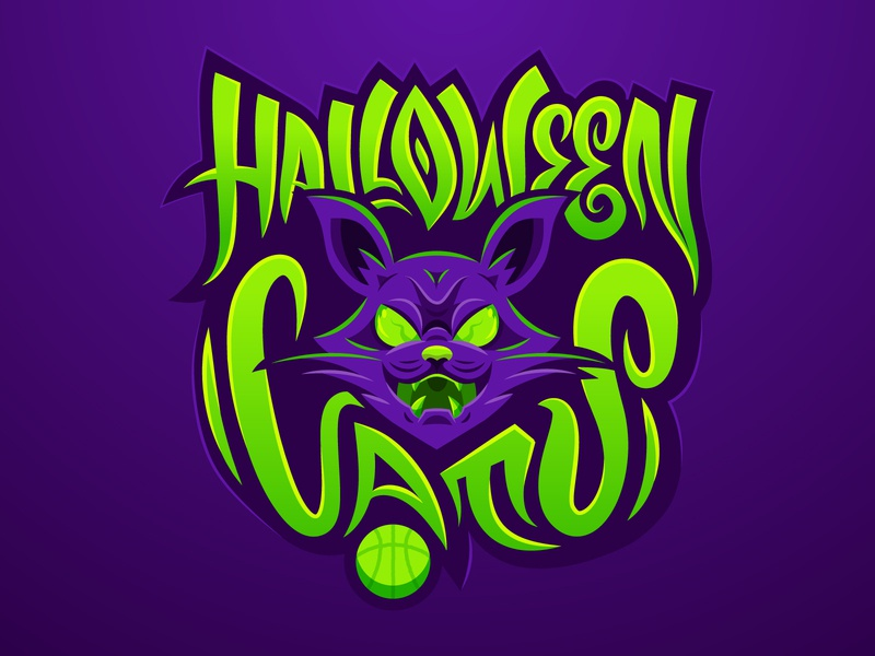 Halloween Cats - full logo custom typography hand lettering typography typo cat drawing sport spooky scary halloween green purple mascot logo mascot basketball basket logo icon cat