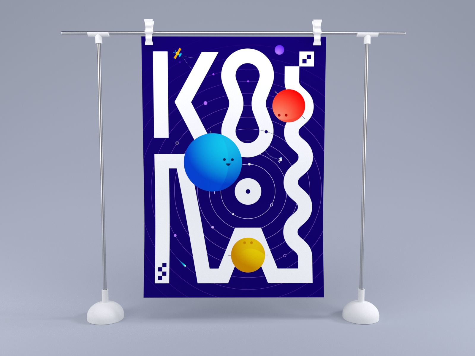 Kosmos typography astronaut sattelite warp yellow blue red print poster toy fun kiddy kids 3d render planets kosmos cosmos cosmo space